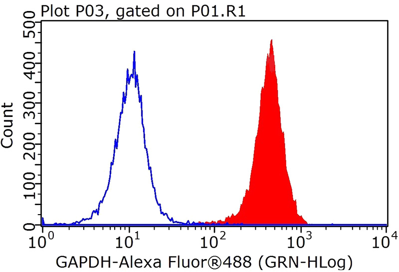 1X10^6 HEK-293 cells were stained with .2ug GAPDH antibody (Catalog No:117317, red) and control antibody (blue). Fixed with 90% MeOH blocked with 3% BSA (30 min). Alexa Fluor 488 -Goat anti-Rabbit IgG with dilution 1:100.